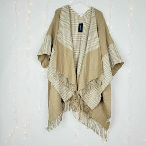 Charter Club Reversible Topper Scarf Beige Plaid